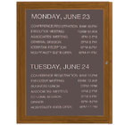 Aarco OADCO3630L 36 inch x 30 inch Enclosed Hinged Locking 1 Door Aluminum with Powder Coated Oak Finish Outdoor Directory Board with Black Vinyl Letter Board and 3/4 inch Letters