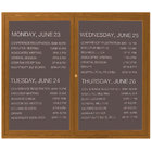 Aarco OADCO3660L 36 inch x 60 inch Enclosed Hinged Locking 2 Door Aluminum with Powder Coated Oak Finish Outdoor Directory Board with Black Vinyl Letter Board and 3/4 inch Letters