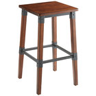 Lancaster Table & Seating Rustic Industrial Backless Bar Stool with Antique Walnut Finish