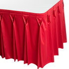 Snap Drape WYN6V1329-RED Wyndham 13' x 29 inch Red Bow Tie Pleat Table Skirt with Velcro® Clips