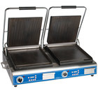 Globe GPGSDUE14D Deluxe Double Panini Grill with Grooved Tops and Smooth Bottoms - 208/240V, 5400/7200W