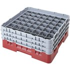 Cambro 49S958416 Cranberry Camrack Customizable 49 Compartment 10 1/8 inch Glass Rack