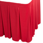 Snap Drape WYN5V1329-RED Wyndham 13' x 29 inch Red Continuous Pleat Table Skirt with Velcro® Clips