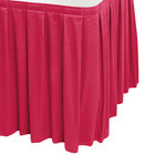 Snap Drape WYN3V21629-RASP Wyndham 21' 6 inch x 29 inch Raspberry Box Pleat Table Skirt with Velcro® Clips