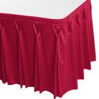 Snap Drape WYN6V17629-RASP Wyndham 17' 6 inch x 29 inch Raspberry Bow Tie Pleat Table Skirt with Velcro® Clips