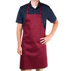 Chef Revival 601NP-BG Customizable Burgundy Bib Apron - 34 inchL x 28 inchW