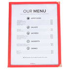8 1/2 inch x 11 inch Red Three Pocket Fold Over Menu Cover