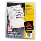 Avery 72611 8 1/2 inch x 11 inch Clear Heavy-Duty Plastic Sleeve - 12/Pack