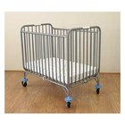 L.A. Baby 884 24 inch x 38 inch Gray Deluxe Holiday Folding Crib with 3 inch Fire Retardant Mattress