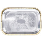 Vollrath 47266 Odyssey 19 1/2 inch x 14 inch Rectangular Gold Trim Metal Catering Tray