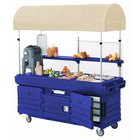 Cambro KVC856C186 CamKiosk Navy Blue Customizable Vending Cart with 6 Pan Wells and Canopy