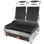 Cecilware SG2LG Double Panini Sandwich Grill with Grooved Grill Surfaces - 240V