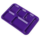 Carlisle 4398887 Purple 10 inch x 14 inch Heavy Weight Melamine Right Hand 6 Compartment Tray