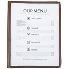 8 1/2 inch x 11 inch Six Pocket Clear Menu Cover - Brown