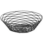 Tablecraft BK17508 Artisan Round Black Wire Basket - 8 inch x 2 inch