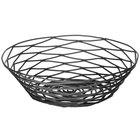 Tablecraft BK17508 Artisan Round Black Wire Basket - 8 inch x 2 inch