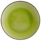 CAC 666-16-G Japanese Style 10 inch China Coupe Plate - Black Non-Glare Glaze / Golden Green - 12/Case