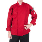 Mercer Culinary Millennia Unisex 52 inch 2X Customizable Red Double Breasted Long Sleeve Cook Jacket with Traditional Buttons