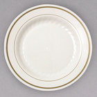 WNA Comet MP75IPREM 7 1/2 inch Ivory Masterpiece Plastic Plate with Gold Accent Bands   - 15/Pack