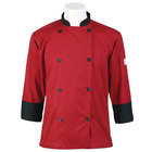 Mercer Culinary Millennia Unisex 52 inch 2X Customizable Red Double Breasted 3/4 Length Sleeve Cook Jacket with Traditional Buttons