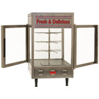 Benchmark USA 51012 Humidified Rotating Pizza / Pretzel Display Warmer with Pretzel Rack and 12 inch Pizza Rack - 120V, 1480W