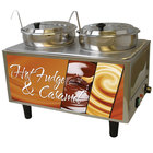 Benchmark USA 51072H Dual 7 Qt. Hot Fudge and Caramel Warmer with Ladles and Lids - 120V, 1200W