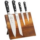 Mercer M21970AC Renaissance 5-Piece Acacia Magnetic Knife Board and Black Handle Knife Set