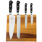 Mercer Culinary M21970AC Renaissance 5-Piece Acacia Magnetic Knife Board and Black Handle Knife Set