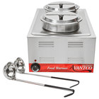 Avantco 12 inch x 20 inch Full Size Electric Countertop Food Warmer with 2 Insets, 2 Lids, and 2 Ladles - 120V, 1200W