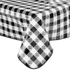 52 inch x 90 inch Black Gingham Vinyl Table Cover with Flannel Back