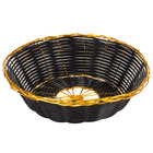 7 3/4 inch Round Black and Gold Rattan Basket - 12/Case
