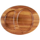 Tablecraft CW30129 16 inch x 12 inch Acacia Wood Cast Iron Divided Underliner