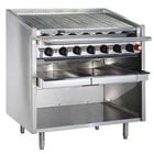 MagiKitch'n FM-SMB-624 24 inch Natural Gas Lava Rock Charbroiler with Open Base - 60,000 BTU