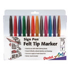 Pentel S52012 Sign Pen Assorted Ink Fine Point 0.7mm Color Marker with Bullet Tip - 12/Set
