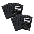 Mead 72936 9 3/4 inch x 7 1/2 inch Black Marble Wide Rule 1 Subject Composition Book - 12/Pack