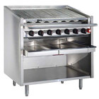 MagiKitch'n FM-SMB-648-H 48 inch Natural Gas High Output Lava Rock Charbroiler with Open Base - 200,000 BTU
