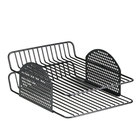 Fellowes 22302 Perf-Ect 9 5/8 inch x 12 9/16 inch x 4 7/8 inch Black 2 Section Wire Letter Tray