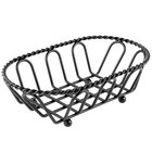 Clipper Mill by GET 4-33453 7 1/2 inch x 4 1/2 inch Black Powder Coated Iron Braided Oval Wire Basket