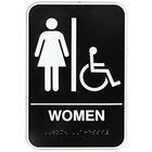 Vollrath 5630 Traex® Handicap Accessible Women's Restroom Sign with Braille - Black and White, 6 inch x 9 inch