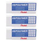 Pentel ZEH10BP3K6 White Hi-Polymer Block Eraser   - 3/Pack