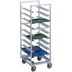 Channel T438A6 28 Tray Bottom Load Aluminum Trapezoidal Cafeteria Tray Rack - Assembled