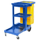 Rubbermaid FG617388BLUE Blue 3 Shelf Janitor Cart with Vinyl Zippered Bag