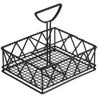 Clipper Mill by GET 4-931832 5-Compartment Black Powder Coated Iron Braided Condiment Caddy - 9 inch x 7 inch x 8 inch