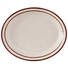 Tuxton TBS-040 Bahamas 7 1/8 inch x 5 3/4 inch Brown Speckle Narrow Rim China Platter - 36/Case