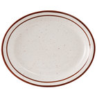 Tuxton TBS-014 Bahamas 13 1/4 inch x 10 1/2 inch Brown Speckle Narrow Rim China Platter - 12/Case