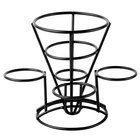 Clipper Mill by GET 4-361843 5 inch Black Powder Coated Iron Cone Basket with 3 Ramekin Holders