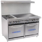Bakers Pride Restaurant Series 48-BP-2B-G36-S20 Natural Gas 2 Burner Range with Two Space Saver 20 inch Ovens and 36 inch Griddle