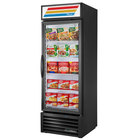 True GDM-23F-HST-HC~TSL01 27 inch Black One Section Glass Door Merchandiser Freezer with LED Lighting and Health Safety Timer