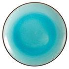 CAC 666-16-BLU Japanese Style 10 inch China Coupe Plate - Black Non-Glare Glaze / Lake Water Blue - 12/Case