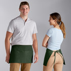 Choice Hunter Green Poly-Cotton Waist Apron with 3 Pockets - 12 inchL x 26 inchW